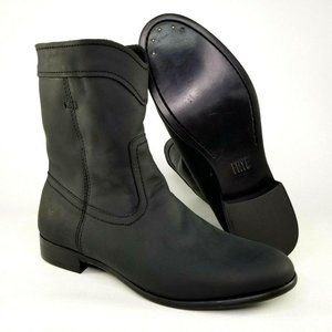 Frye Cara Roper Short Leather Riding Boots Black 7